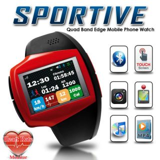 Sport Wrist Watch Mobile Phone w Heart Rate Monitor GPS Camera