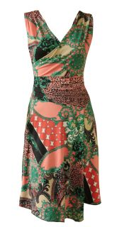 Coral Green Glamour Print Faux Wrap Day Dress Nicola Size 8 New