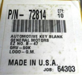 Automotive Key Blank GM B 47 Ford H 75P H 56 Chry Y 152 Car Auto