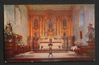 1950s Interior Main Altar Old Mission Santa Barbara CA Postcard