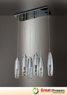 Glass Shade w Crystal Ceiling Light Pendant Lamp Fixture Lighting x6