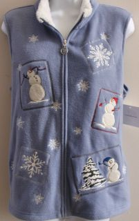 Croft Barrow Snowman Snowflake Slate Blue Vest L XL Holiday New