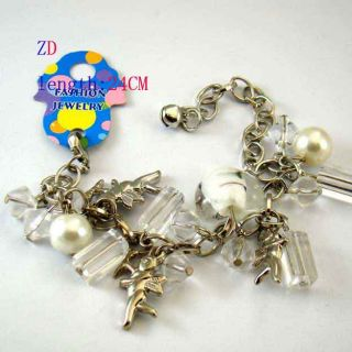 A0336 White Glass Heart Crystal Bead Cupid Bracelet New