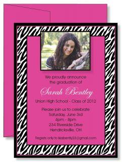 Personalized Pink Zebra PHOTO Graduation Announcement Invitations