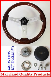 60 73 VW Volkswagon Grant Wood Steering Wheel Mahogany 14 High Gloss
