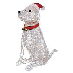 Holiday Grapevine Christmas Dog Outdoor Yard Decoration Santa Hat And