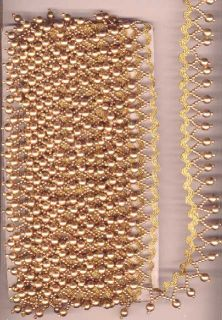 Vintage Antique Golden Color Plastic Beads Lace Sari Saree 6 Feet