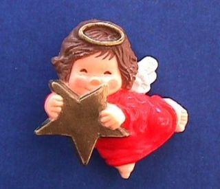 Hallmark Pin Christmas Gold Star Angel 1980s Jewelry Vtg Xmas Holiday