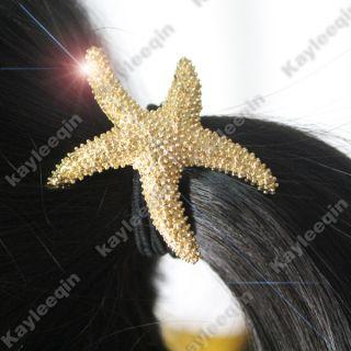 Gold Starfish Sea Star Fish Pony Tail Holder Band Hair Cuff Wrap Beach