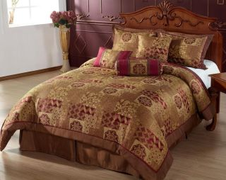 Bed in A Bag 7pc Comforter Set Brown Gold Burgundy Bedding
