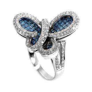 18K White Gold Blue White Diamond Butterfly Ring