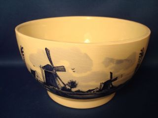 Delft Blue China Handcrafted Bowl Holland Hand Painted Dutch Windmill