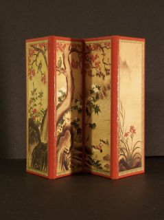Vintage Miniature Japanese Asian Oriental Folding Screen Holds Photos