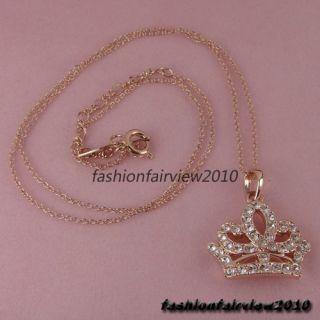18K Rose Gold GP Aqua Swarovski Crystal Crown Pendant Necklace IN074A