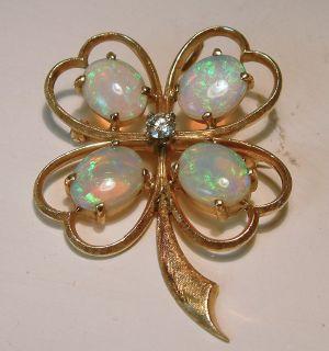 14k Gold Opal Diamond Clover Heart Pendant Brooch Pin Estate Jewelry