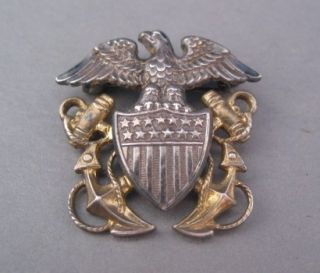 NAVY USN OFFICERS HAT BADGE PIN EAGLE SHIELD & ANCHORS STERLING & GOLD