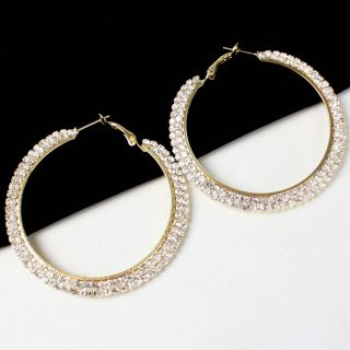Chic Gold Sparkling Bling Crystal Rhinestone Big Hoop Earrings