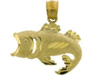 10K Yellow Gold Small Bass Fish Jewelry Charm Pendant