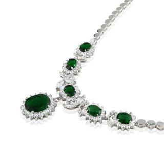 Oval Cut Green Emerald White Gold Plated Pendant Necklace Silver Tone
