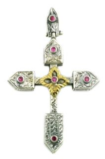 Greek Russian Cross Sterling Silver Gold Plated Silver Zircon