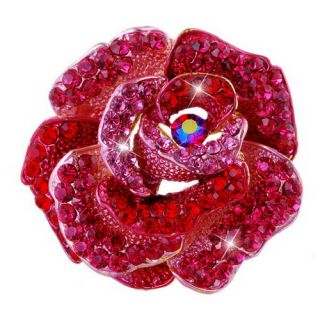 6Colors Big Flower Brooch Pin Gold Plating Full Rhinestone Crystal