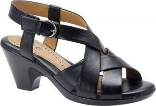 Softspots Valley Womens Black Leather Strappy Comfort heeled Slingback