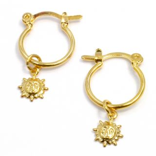 Gold 18K GF Plain Hoop Earrings Charm Sun Girl Kids Baby 10mm