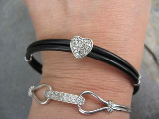 14kt White Gold Pave Diamond Heart Rubber Bracelet Estate Effy Design
