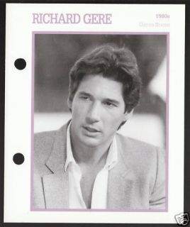 Richard Gere Atlas Movie Star Picture Biography Card
