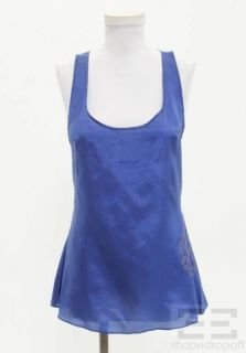 Geren Ford Cobalt Blue Silk Cutout Back Printed Sleeveless Top Size