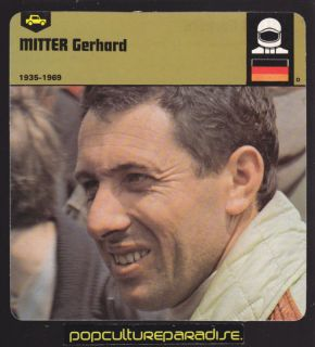 Gerhard Mitter German Race Car Driver Biography Card