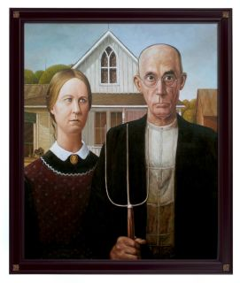 Handmade Oil Painting Repro Grant Wood American Gothic
