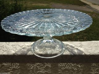 Vintage Clear Glass Pedestal Cake Plate Stand Pretty Embossed Pattern