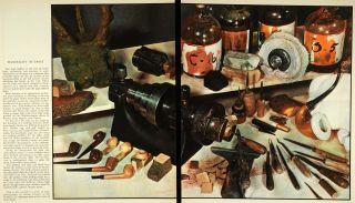 1936 Print Arthur Gerlach Pipe Tobacco Smoking Lathe Wood Tools
