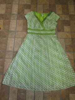 Green Polka Dot Coldwater Creek Summer Dress Size 12 Super Cute