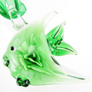 Green flower tropical Fish Murano Art Lampwork Glass Pendant Ribbon
