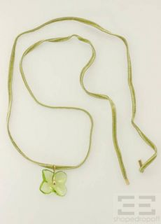 18K Yellow Gold Green Crystal Hortensia Flower Necklace