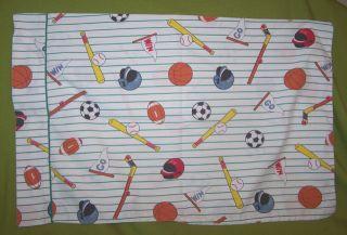 Sports Themed Pillow Case White Green Stripe Vtg Baseball Football Go
