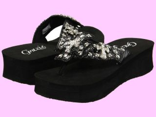 New Grazie Lavida 2 Black Bling Cross Rhinestone Flip Flops