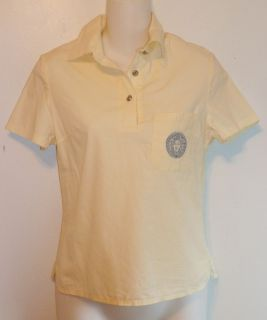 Gianni Versace Medusa Light Pale Yellow Golf Polo Cotton Shirt Sz S