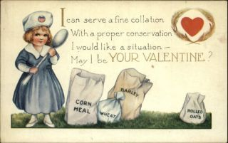 WWI Valentine Little Girl Nurse w Spoon Suppplies Old Postcard