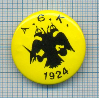 Football Soccer Club Button Pin aek Athens Greece
