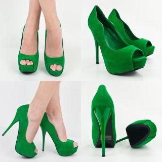 Emerald Green Velvet Open Peep Toe High Heel Platform Stiletto Women
