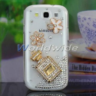 S3 SIII i9300 Bling Gold Diamond Flower Perfume Case Cover