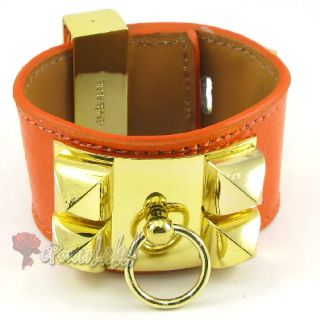 H266 Bracelet Gold Stud 10 Colors Real Leather Women Lady Wristband