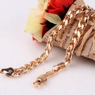 Cool Design 18K Gold Filled Women Men Cuban Chain Bracelet Bangle 7 6