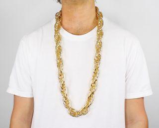 40 Heavy Rope Gold Pimp Chain Old School Rapper Run DMC Costume Bling