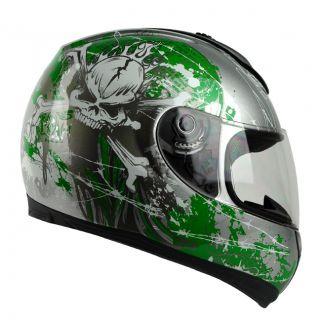 Green Skull Full Face DOT APPORVED Motorcycle Street Bike Race Helmet