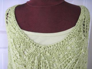 Coldwater Creek Green Crochet Sweater w Tank XL