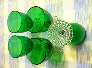 Beautiful Five Forest Green and Bubble Crystal Glasses Anchor Hocking